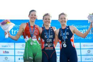 La britannica Vicky Holland vince la Cape Town ITU Triathlon World Cup 2018 davanti alla connazionale Non Stanford e all'ungherese ZsanettBragmayer (Foto ©ITU Media / Tommy Zaferes