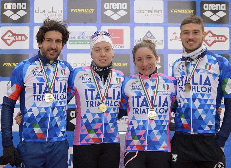 I campioni d'Italia di Duathlon Staffetta 2+2 sono Mattia Camporesi, Sara Papais, Federica Parodi e Giulio Soldati del TD Rimini (Foto: Massimiliano Pizzolato)