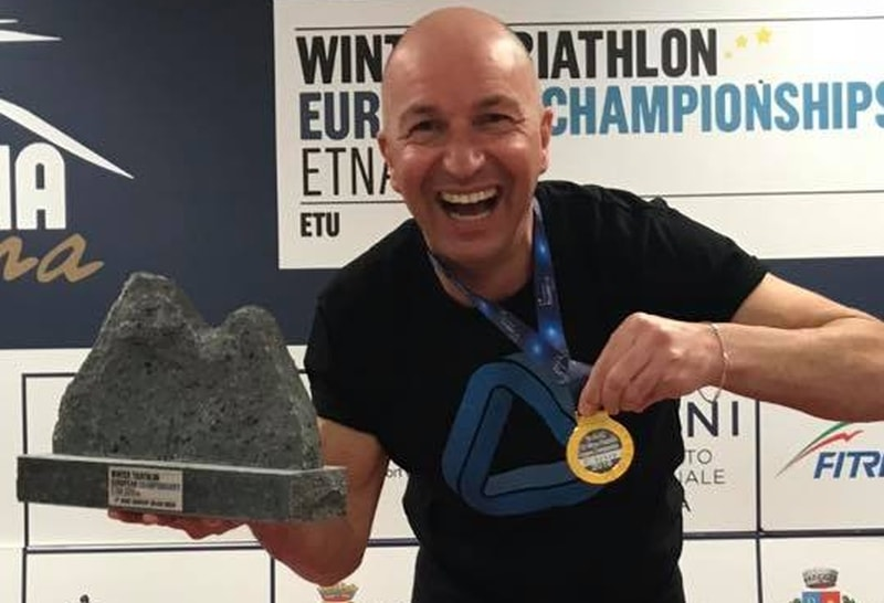 Gianni Sartori dopo il bronzo mondiale è d'oro nella sua categoria agli Europei Winter Triathlon 2018 sull'Etna