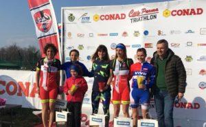 Tania Molinari (Piacenza Triathlon) vince il Duathlon Super Sprint di Parma 2018, davanti a Yazmina Herguido Sifre (CUS Parma) ed Eleonora Chiodi (Amici del Nuoto)
