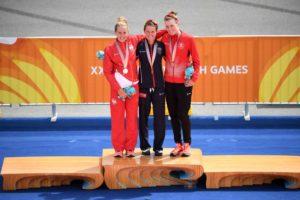 Flora Duffy, oro, ai Giochi del Commonwealth 2018, nella Gold Coast, in Australia, ha vinto l'oro davanti a Jessica Learmonth, argento, e Joanna Brown, bronzo (Foto ©ITU Media / Delly Carr)