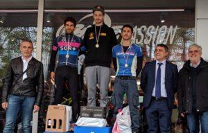 Al 1° Duathlon Sprint Imola, corso domenica 15 aprile 2018 all'interno dell'Autodromo Enzo e Dino Ferrari, sono saliti sul podio Daniele Angelini (CUS Ferrara), primo, Mattia Camporesi (TD Rimini), secondo, e Fabio Galassi (Imola Triathlon)