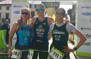 Al Duathlon di Romano di Lombardia, corso lunedì 2 aprile 2018, la più veloce è l'ungherese Zita Zsanett Bragmayer davanti alla connazionale Dominika Peszleg ed Elena Mauri (Rho Triathlon Club)