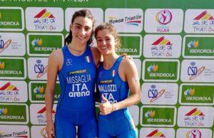 Il duo azzurro Beatrice Mallozzi e Carlotta Missaglia, rispettivamente prima e quarta all'ETU Triathlon Junior European Cup, corsa a Melilla (POR) domenica 15 aprile 2018 (Foto ©ETU Triathlon)