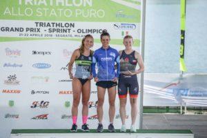 Il podio femminile della prima tappa del Grand Prix Triathlon Italia 2018, corso all'Idroscalo di Milano: Giorgia Priarone (707 Triathlon) 2^, Beatrice Mallozzi (G.S. Fiamme Azzurre) 1^ e Verena Steinhauser (Project Ultraman LE) 3^. - Foto ©FiTri / Tiziano Ballabio)