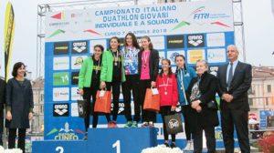 Le migliori 3 atlete della categoria Youth A ai Campionati Italiani di duathlon 2018 (Foto ©FiTri)