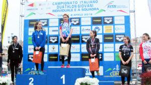 Il podio femminile della cat. Youth B ai Campionati Italiani di duathlon 2018 (Foto ©FiTri)