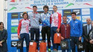 I top 3 Junior dei Campionati Italiani di duathlon 2018 (Foto ©FiTri)