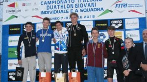 Il podio maschile della cat. Youth A ai Campionati Italiani di duathlon 2018 (Foto ©FiTri)