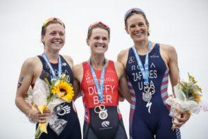 Flora Duffy, sabato 28 aprile 2018, ha vinto l'ITU World Triathlon a Bemuda, davanti alla britannica Vicky Holland e all'americana Katie Zaferes (Foto ©ITU Media / Wagner Arajuio)