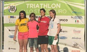 Daniela Locarno (Trisports.it) si è aggiudicata il Triathlon Sprint di Milano 2018, davanti a Matilde Acarne (Pianeta Acqua) e Chiara Gelmi (CUS Trento CTT)