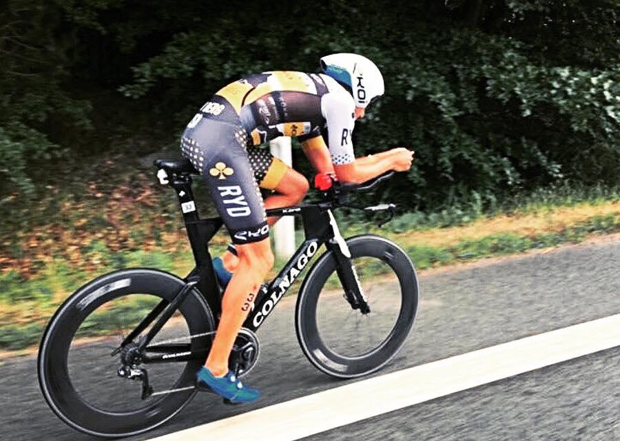 Rudy Von Berg in azione a Elsinore, Ironman 70.3 Denmark 2018, in sella alla sua Colnago