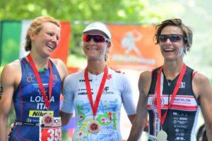 Le tre protagoniste assolute dell'Idroman 2018 - Triathlon Olimpico (Foto ©Dani Fiori)