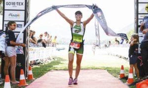La vincitrice dell'XTERRA Italy Lake Scanno 2018, la spagnola Eva Garcia Gonzalez
