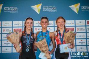 Il podio femminile dei Mondiali di duathlon cat. Junior 2018, con al centro l'azzurra Costanza Arpinelli (Foto ©ITU Media / Wagner Araujo)