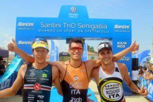 Alberto Chiodo (Tue Hurricane) firma il Santini TriO Senigallia 2018 su distanza sprint relegando al secondo e terzo gradino del podio Nicolò Ragazzo (PPR Team) ed Elisa Mozzachiodi (Spezia Triathlon) - Foto ©Marco Bardella)