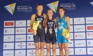Il podio femminile dell'ITU Cross Triathlon World Championship 2018: oro per la britannica Lesley Paterson davanti alla connazionale Nicole Walters, terza l'azzurra Eleonora Peroncini