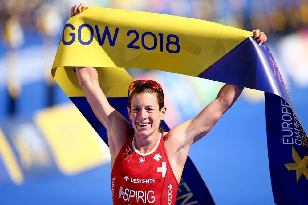 Nicola Spirig si prende il sesto titolo europeo di triathlon in carriera giovedì 9 agosto 2018 a Glasgow, Gran Bretagna (Foto ©ETU Media)