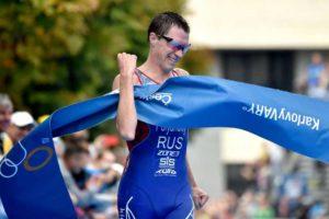 Il russo Dmitry Polyanskiy vince l'ITU Triathlon World Cup a Karlovy Vary (Repubblica Ceca) domenica 2 settembre 2018 (Foto ©ITU Media / Janos Schmidt)