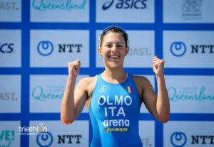 Angelica Olmo sul podio dell'ITU Triathlon World Championship 2018 U23. L'azzurra ha chiuso in terza posizione (Foto ©Tommy Zaferes / ITU Media)