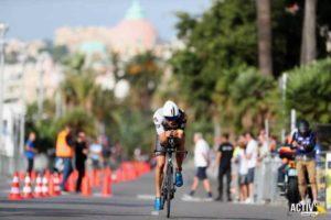 """Lo statunitense con """"cuore italiano"""" Rodolphe Von Berg inaugura l'albo d'oro dell'Ironman 70.3 Nice, corso il 16 settembre 2018 (Foto ©Activ'images)"""