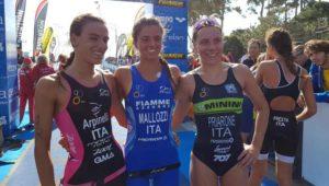 A Lignano Sabbiadoro (UD) il 29 settembre 2018 la junior Beatrice Mallozzi (G.S. Fiamme Azzurre) si conferma campionessa italiana di triathlon sprint. Un'altra junior, Costanza Arpinelli (A.S. Minerva Roma) è seconda, terza Giorgia Priarone (707 Triathlon) - Foto ©FiTri)