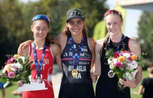 Domenica 9 settembre 2018 l'italiana Carlotta Missaglia vince l'ETU Triathlon Junior European Cup a Zagabria davanti all'austriaca Lena Baumgartner e alla britannica Hollie Elliott (Foto ©Zagreb3athlon)
