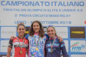 A Lerici (SP) Charlotte Bonin (Fiamme Azzurre) vince il titolo italiano di triathlon olimpico 2018 cat. Elite. Seconda è Luisa Iogna Prat (DDS), tricolore tra le U23; terza è Federica Parodi (T.D. Rimini) - Foto ©FiTri / Tiziano Ballabio