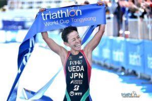 La giapponese Ai Ueda vince la 15^ tappa della ITU Triathlon World Cup 2018, a Tongyeong (Corea del Sud) - Foto ©ITU Media / Janos Schmidt