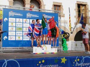 Il podio della categoria 55-59 dell'ETU Duathlon European Championship, disputato su distanza sprint sabato 20 ottobre 2018 a Ibiza (Spagna), con l'azzurra Marinella Sciuccati sul gradino più alto.