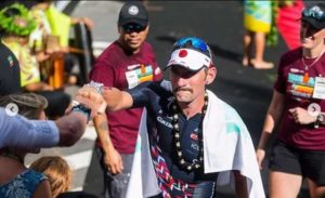 Tim Don al traguardo dell'Ironman Hawaii World Championship 2018.