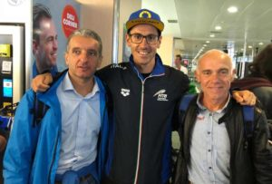 L'argento Alberto Ceriani e Claudio Pellegri con il nuovo campione d'Europa di triathlon medio, Giulio Molinari.