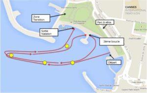 Il percorso della frazione di nuoto del Cannes International Triathlon 2019.