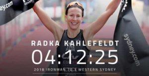 La ceca Radka Vodickova Kahlefeldt è la più veloce nell'Ironman 70.3 Western Sydney 2018 (Foto ©Delly Carr)