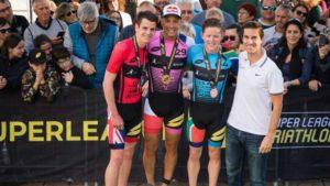 I top 3 della 3^ tappa della Super League Triathlon The Championship 2018, disputata a Mallorca (Spagna): Jonathan Brownlee (2°), Vincent Luis (1°) e Henri Schoeman (3°). Foto ©Darren Wheeler (www.thatcamerman.com)