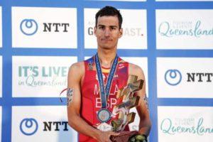Lo spagnolo Mario Mola è per la terza volta Campione del Mondo ITU di triathlon. Dopo le vittorie nel 2016 e 2017, arriva anche quella del 2018 (Foto ©ITU / Wagner Araujo)