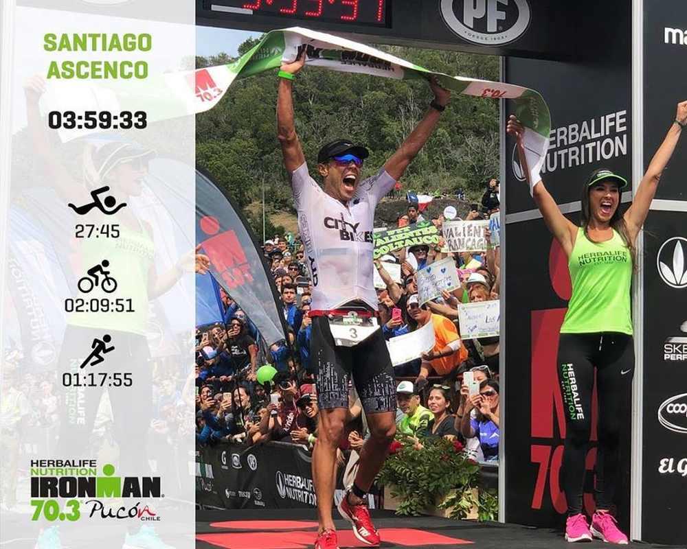Il brasiliano Santiago Ascenco è il più veloce all'Ironman 70.3 Pucon 2019
