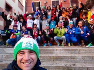 I campioni italiani Age Group di winter triathlon 2019 con Riccardo Giubilei, Presidente Commissione Age Group FiTri.