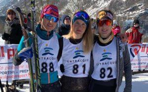 Il podio femminile dei Campionati Italiani di winter triathlon: Bianca Morvillo (Granbike Torino) 2^, Sandra Mairhofer (Granbike Torino) 1^ e Chiara Novelli (Olimpic Triathlon) 3^ (Foto ©Fitri).