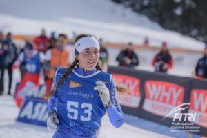 Giorgia Rigoni conquista la medaglia d'oro tra le Junior ai Campionati Mondiali di winter triathlon 2019 (Foto ©FiTri / Tiziano Ballabio).