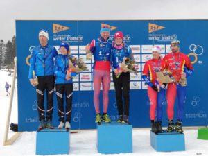 Il podio della 2x2 Mixed Relay dei Mondiali di winter triathlon 2019: sul gradino più alto la Russia. Seconda è l'Italia con Sandra Mairhofer e Daniel Antonioli; terza la Romania.