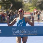 Angelica Olmo trionfa nella terza prova dell'ITU Triathlon World Cup, corsa a New Plymouth, in Nuova Zelanda, il 31 marzo 2019 (Foto ©ITU Media / Jo Caird).