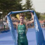 L'australiano Luke Willian si aggiudica la terza tappa dell'ITU Triathlon World Cup 2019, corsa a New Plymouth, Nuova Zelanda (Foto ©ITU Media / Jo Caird).