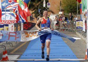 Tania Molinari (Piacenza Tri Vittorino) si aggiudica il 4° Duathlon de La Primogenita, corso a Piacenza il 10 marzo 2019 (Foto ©Claudio Cavalli).