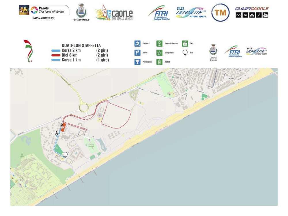 Il tracciato del Campionato Italiano di duathlon sprint staffetta 2+2 2019