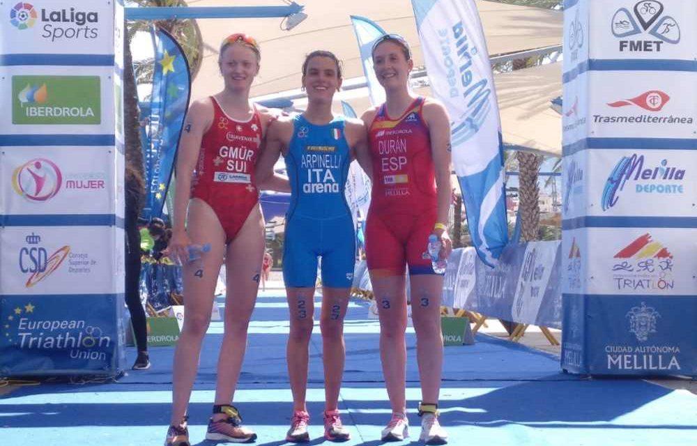 Con Arpinelli e Crociani sventola il Tricolore sulla Coppa Europa Junior di triathlon a Melilla