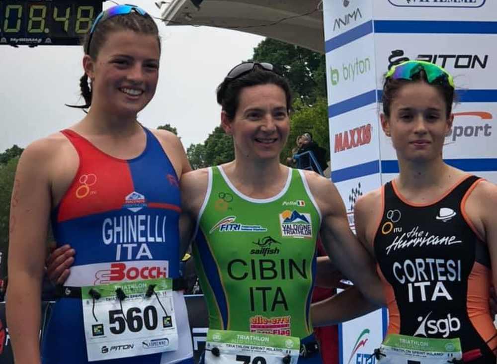 Il podio femminile del Triathlon Sprint Eco Race Milano 2019.