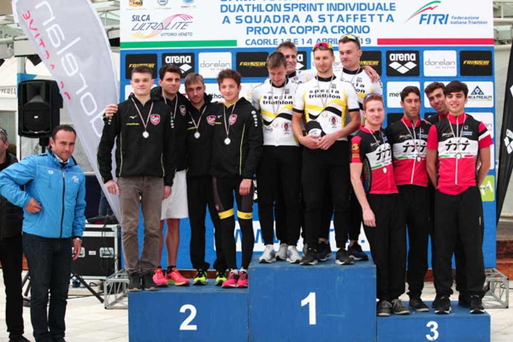 I top 3 della prima tappa della Coppa Crono Duathlon 2019, disputata a Caorle (VE)  - Foto ©IO+Studio.