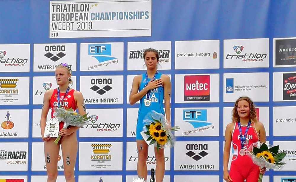 Beatrice Mallozzi è campionessa europea di triathlon tra le junior. Potter è oro nelle Elite.