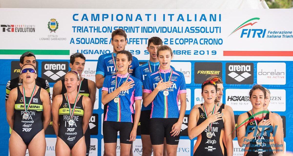 Minerva Roma Tricolore di triathlon a staffetta 2+2. Cus Pro Patria re della Coppa Crono